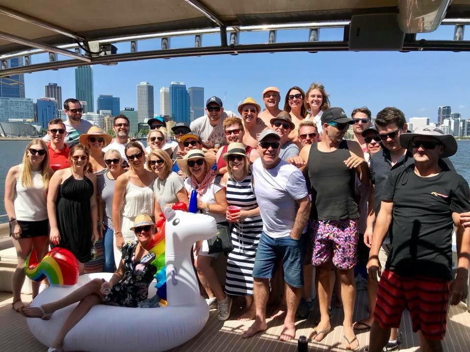 Sales team boat cruise
